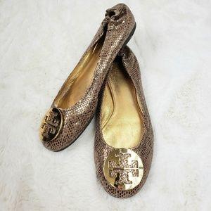 Tory Burch Gold snakeskin Reva Ballet flats